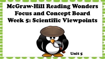 5th Grade McGraw Hill Reading Wonders Concept Focus Wall Unit 5 Week 5