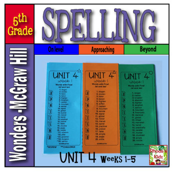 5th Grade    McGraw-Hill     WONDERS   Unit 4   Spelling Lists