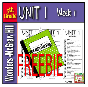 5th Grade McGraw-Hill    WONDERS   Vocabulary List    UNIT 1, Week 1