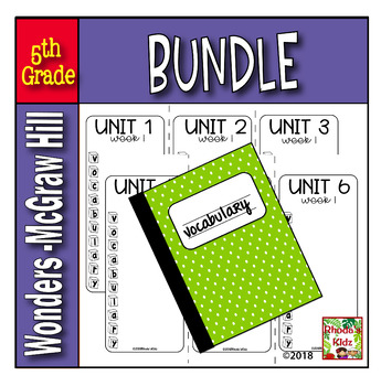5th Grade McGraw-Hill  WONDERS  Vocabulary Lists BUNDLE