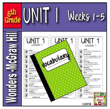 5th Grade  McGraw-Hill   WONDERS  Vocabulary Lists   UNIT 1
