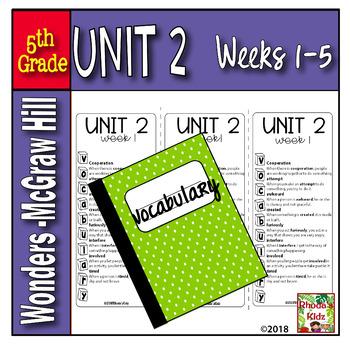 5th Grade McGraw-Hill   WONDERS  Vocabulary Lists  UNIT 2