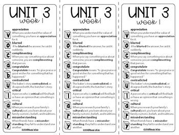5th Grade  McGraw-Hill    WONDERS   Vocabulary Lists   UNIT 3