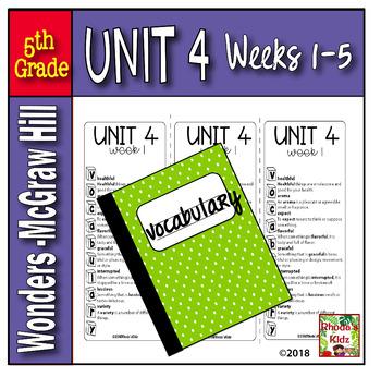 5th Grade  McGraw-Hill   WONDERS   Vocabulary Lists  UNIT 4