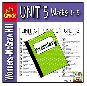 5th Grade   McGraw-Hill    WONDERS  Vocabulary Lists   UNIT 5