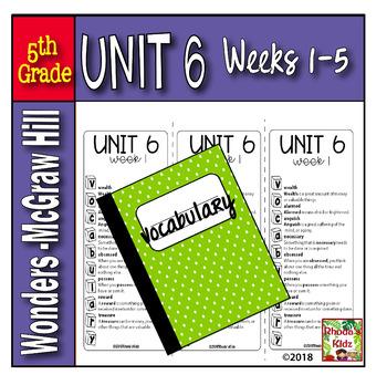 5th Grade McGraw-Hill     WONDERS   Vocabulary Lists  UNIT 6