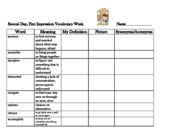 5th Grade McGraw Hill Wonders: Second Day First Impressions Vocabulary Organizer