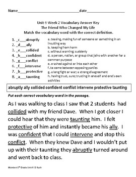 5th Grade McGraw Hill Wonders Unit 6   Vocabulary Tests Weeks 1-5