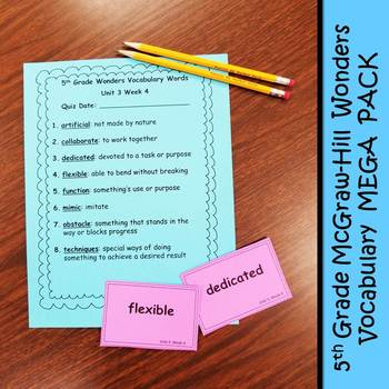 5th Grade McGraw-Hill Wonders Vocabulary MEGA PACK!