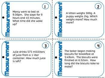 Measurement Task Cards - Math Problem of the Day ( 5th grade word problems )