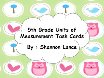 5th Grade Measurement Task Cards
