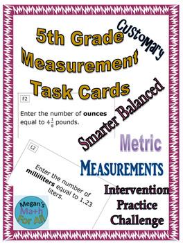 5th Grade Measurement Task Cards - SBAC - Editable