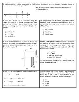 5th Grade Measurement and Data Test - Common Core