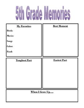 5th Grade Memory Sheet