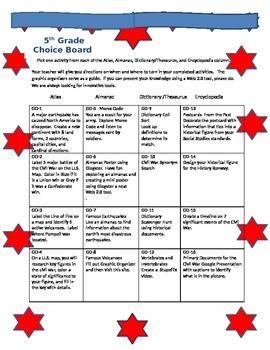 5th Grade MenuBoard for Science and Social Studies