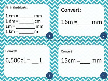 5th Grade Metric System- Math Task Cards