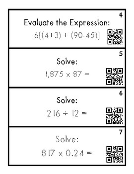 5th Grade Mid-Year Review Task Cards