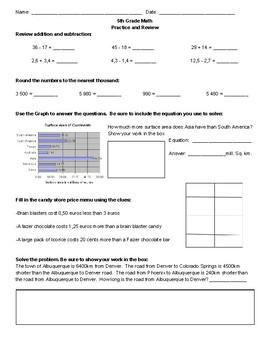 5th Grade Mixed Math Review