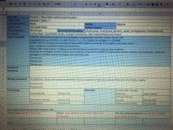 5th Grade Module 1 Lesson Plans in Google Sheets