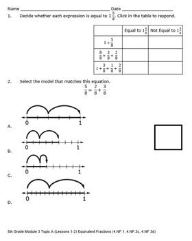 5th Grade Module 3 Quizzes for Topics A to D - Editable