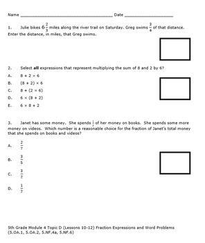 5th Grade Module 4 Quizzes for Topics A to H - Editable