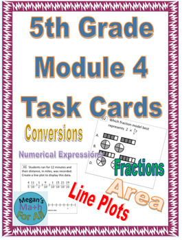 5th Grade Module 4 Task Cards - Editable (Conversions, Expressions, Fractions)