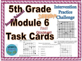 5th Grade Module 6 Task Cards - First Quadrant Coordinate Plane - Editable-SBAC