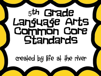 5th Grade Monster Themed ELA Common Core I Can Statements