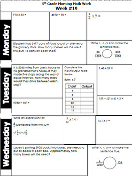 5th Grade Morning Math (Daily Math Problem-Solving Review) FREE SAMPLE!