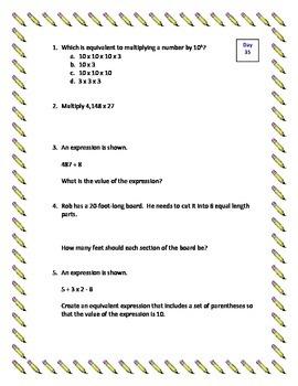 5th Grade Daily/Morning Math - Week 8 - 5 Standards