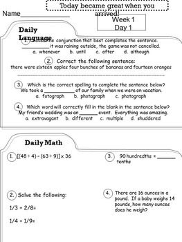 5th Grade Morning Work COMMON CORE Full Year BUNDLE