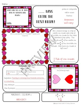 5th Grade Morning Work: February {Digital & PDF Included}