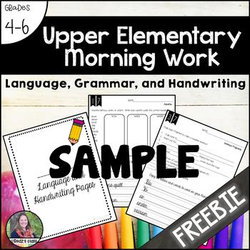 Upper Elementary Morning Work, Language, Grammar, and Handwriting {SAMPLE}