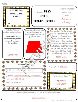 5th Grade Morning Work: November {Digital & PDF Included}
