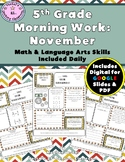 5th Grade Morning Work: November {Digital & PDF Included}