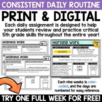 5th Grade Morning Work - ONE FREE WEEK Math AND ELA