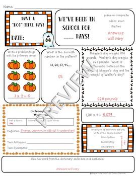 5th Grade Morning Work: October {Digital & PDF Included}