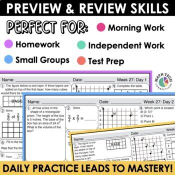 5th Grade Morning Work - Set 3 Homework, Spiral Review