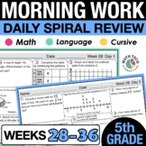 5th Grade Morning Work - Set 4 Homework, Spiral Review
