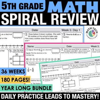 5th Grade Morning Work, Homework, Spiral Review - Math All Standards