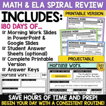 5th Grade Morning Work for the YEAR Math AND ELA Google Classroom