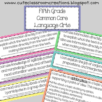 5th Grade Multi-Colored Chevron Common Core Objectives Combo Pack
