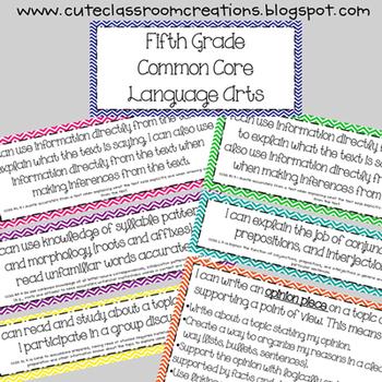 5th Grade Multi-Colored Chevron Language Arts Common Core Objectives