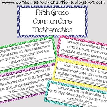 5th Grade Multi-Colored Chevron Math Common Core Objectives