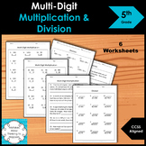 5th Grade Multi-Digit Multiplication and Division Worksheet Practice Set