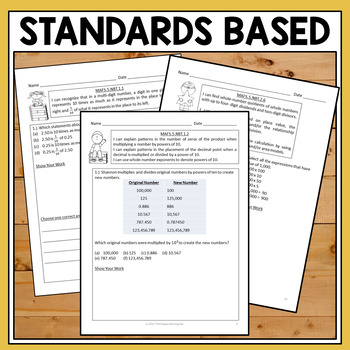 FSA 5th Grade Multi-Select Questions Numbers and Operations in Base Ten  BUNDLE