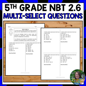 FSA 5th Grade Multi-Select Questions- Find Quotients of Whole Numbers (NBT 2.6)