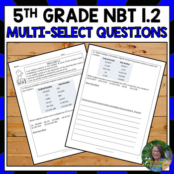 FSA 5th Grade Multi-Select Questions-Number Patterns and Exponents (NBT 1.2)