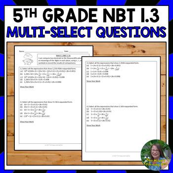 FSA 5th Grade Multi-Select Questions, Decimals to Thousandths (NBT 1.3)