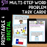 5th Grade Multi-Step Word Problem Task Cards & Worksheets